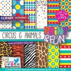 https://www.etsy.com/mx/listing/225664455/fondos-digitales-papel-digital #madagascar #animalprint #circus #circo #zebra #tiger #giraffe #free #clipart #afrocircus