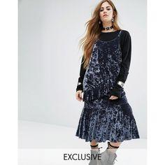 Rokoko Midi Slip Dress With Ruffle Layers In Velvet (1.015 RUB) via Polyvore featuring dresses, blue, midi party dresses, midi flare dress, blue velvet dress, blue fit-and-flare dresses и velvet midi dress