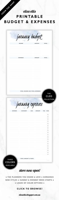 Printable Monthly Budget and Expenses Financial Planners // The Cleo Collection by Eliza Ellis. Gorgeous watercolor and handwritten type design. Available in 3 colors – fairyfloss, nimbus and sherbet. Documents print to A4 or A5.