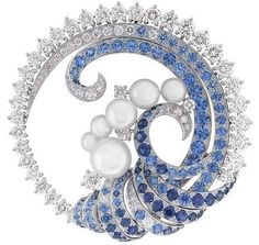 Van Cleef and Arpels - Seven Seas Collection - Mer de Vent Brooch; Sapphires, Diamonds, Pears, White Gold