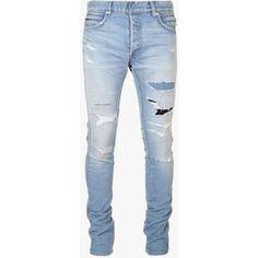 Balmain - Slim-fit destroyed stretch cotton denim jeans - Mens jeans