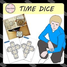 "What time is it ? Well, just let your students roll the dice and let them tell the time !In this product, you will get 5 categories:- on the dot: 2 dice- half and quarter: 2 dice- using ""past"": 2 dice- using ""to"": 2 dice- misc. : 2 diceJust print each dice on a single page (use thick paper for the dice to roll properly), cut , fold and stick and your dice is ready to be rolled !Cliparts can be downloaded from my store: CLIPARTS: 144 clocks                                USAGE This product…"