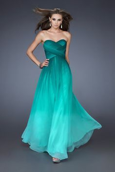 2014 Gradient Color Prom Dresses Fitted And Pleated Bodice A Line Sweetheart Floor Length