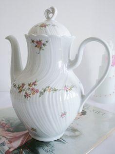 Bavaria - Lovely stylish off-white teapot with tiny roses