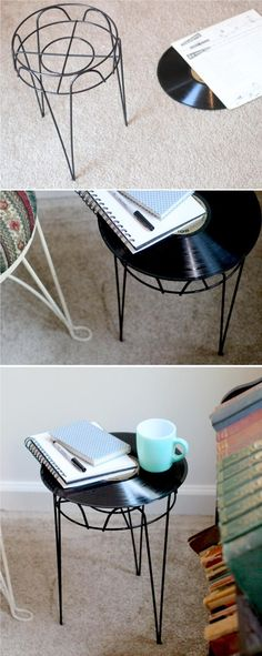 Awesome DIY Upcycled Furniture Ideas DIY Record Side Table
