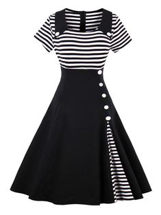 Pin up dresses - Contrast Striped Button Detail Flare Dress – Pin up dresses Pin Up Dresses, Dresses Online, Dress Outfits, Fashion Dresses, Cute Outfits, Ladies Dresses, Dress Shoes, Cheap Dresses, Fashion Clothes