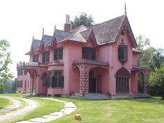 """Woodstock, CT. Bowen House, c.1846. Referred to locally as the """"Pink House"""". Great example of carpenter Gothic style, using board and batten siding and numerous vertical features."""