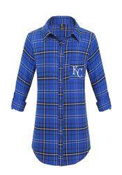 KC Royals Womens Blue Flannel Sleep Shirt