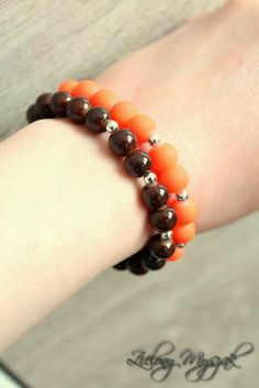 Brown and Orange #bracelet #handmade #jewellery