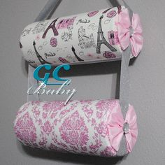 Sparkle Pink Hanging Headband Holders  Paris Damask by GCBaby