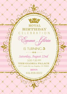 Royal Princess invitación fiesta de princesa por EniPixels