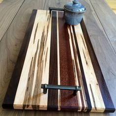 Serving Tray made from Black Walnut, Ambrosia Maple, and Sapele wood. Rustic patina handles. #DIY #Handcrafted