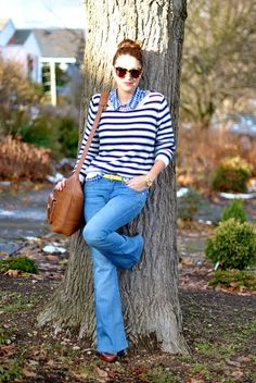 Perfectly preppy with a fun neon belt to kick it up a notch. Love the jeans. From My Style Pill.