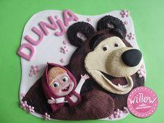 Masha and the bear, fondant cake decoration
