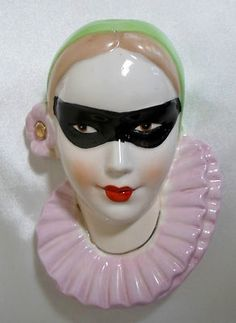 Vintage Pierrot Female Lady Woman Clown Masquerade Art Deco Wall Pocket Planter