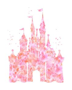 Castle printable art coral pink castle Instant Download