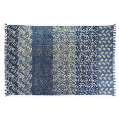 Akara Blue Banded Cotton Rug - Rugs & Floor Coverings - Homewares