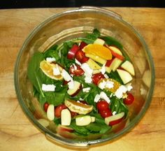 HEALTHY Dinner!!! Fresh spinach, cherry tomatoes, orange wedges, diced apples, and some feta cheese!
