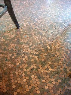 "Penny ""tile"" floor. This would be lovely for an entry way with the sun hitting it. Cheaper than many tile flooring options!"