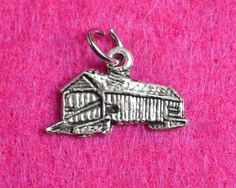Vintage Sterling Silver, 3D Covered Bridge, Charm / Pendant