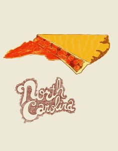 "North Carolina imagined as a slice of cherry pie from the ""United Plates"" series by artist John Holcomb.    Visit www.shorthandedst... for more United Plates, and www.discoverameri... for travel ideas in North Carolina!  © John Holcomb"