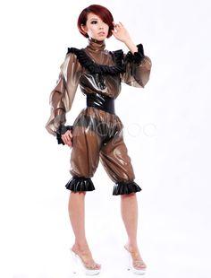 Unique Lace Work Women's Latex Clothes - Milanoo.com