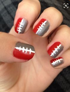 Football nails and you can customize to your fave team! Fingernail Designs, Nail Polish Designs, Cute Nail Designs, Nails Design, Football Nail Designs, Football Nail Art, Hot Nails, Hair And Nails, Ohio State Nails