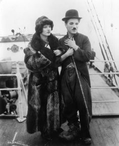 Charlie  Chaplin with Georgia Hale at the end of The Gold Rush c.1925