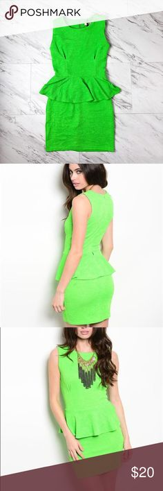 Lime Green Sleeveless Mini Peplum Party Dress This is a bright green Peplum Dress. It's more of a party dress as it's a mini dress. It's stretchy and gives, but retains its shape well.  My picture shows the true color. It's brighter than the stick photo. Dresses Mini