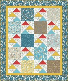 Free Quilt Pattern   Flying High by Swirly Girls Design for Camelot Fabrics   Take Flight by Vita Mechachonis