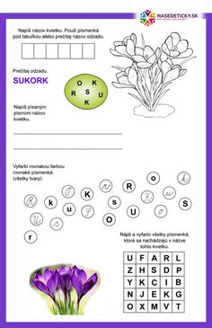 Jarné pracovné listy pre prvákov - Nasedeticky.sk Spring Activities, Activities For Kids, Jar, Words, Geography, Children Activities, Kid Activities, Petite Section, Horse