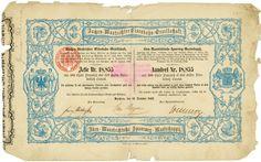 Aachen-Mastrichter Eisenbahn-Gesellschaft / Aken-Maastrichtsche Spoorweg-Maatschappij, Aachen, 15.10.1852, Gründeraktie über 200 Thaler Preussisch Courant = 352 Gulden Niederländisch Courant, #18855, 20,2 x 32,5 cm, blau, schwarz, beige, Knickfalten, Randschäden, zweisprachig: Deutsch, Niederländisch, lochentwertet (RB), nur zehn Exemplare lagen im Reichsbankschatz!