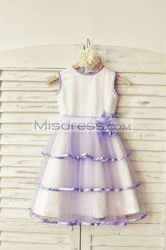 Lavender Satin Tiered Tulle Flower Girl Dress with flower sash