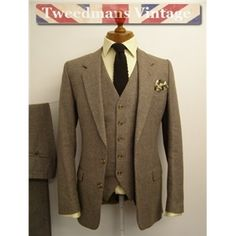 vintage Mens 3 Piece Wool Suit . Reversible Vest . Brown Cream ...