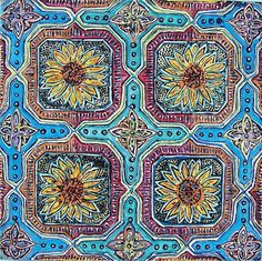 Art: Sunflower mosaic by Artist Joan Hall Johnston