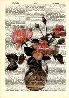 "Dictionary Art Print,Digital Illustration,vintage,Gifts ideas,Home & living,Graphic design,Poster,Decorative arts,Digital drawings ""Roses""10"