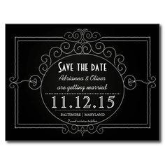 Vintage Chalkboard Wedding Save The Date