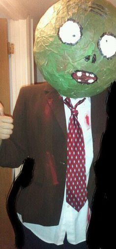 DIY Plants VS Zombies Costume   Clothes from Goodwill  Mask made of Paper Mache