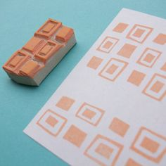 Retro Squares Border  Hand Carved Rubber Stamp by creatiate, $7.00