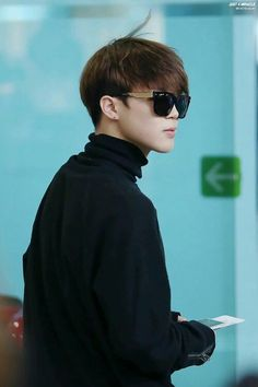 Jimin ' Bkground, blk turtleneck, sunglasses, hairstyle' O-o