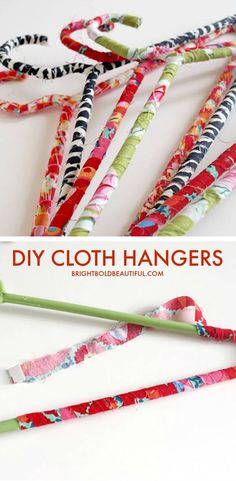 Get the tutorial on how to make these fabric wrapped hangers - easy and fun home DIY projects.