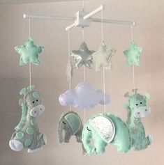 Baby Mobile - Elephant and Giraffe Mobile - Cot Mobile - Baby boy Mobile - Nursery Decor - Pastel Decor - grey, mint green and silver Baby Boy Room Decor, Baby Boy Rooms, Baby Boy Nurseries, Baby Cribs, Baby Room, Nursery Decor, Mint Nursery, Boy Mobile, Baby Crib Mobile
