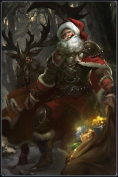 Kabam Cards Maybe it's too hot to see Santa Claus during the summer time hhh. Anime Art Fantasy, Fantasy Kunst, Fantasy Artwork, Red Pencil, Pencil Art, Dark Christmas, Christmas Art, Dungeons And Dragons, Fly Drawing