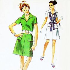 Zip Front Aline Dress 70s Pattern. Simplicity 8874. Casual Day Office by sewinghappyplace on Etsy