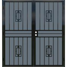 Gatehouse Ventura Black Steel Security Door (Common: 72-in x 80-in; Actual…