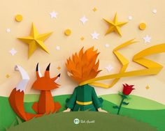 Illustration inspired by The Little Prince movie. Commissioned. 24 x 30 cm. Paperart.