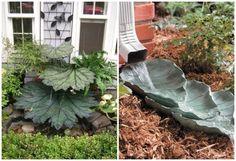 Brunnen und Fallrohr-Wassersperier mit Beton-Blättern