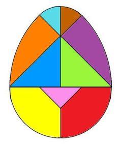 Tangram oeuf à imprimer Egg tangram puzzle, tangram oeuf de Pâques Easter Activities, Preschool Activities, Tangram Printable, Tangram Puzzles, Kindergarten Math Worksheets, Maths, Pattern Blocks, Teaching Kids, Montessori