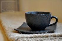 Bộ ly tách gốm đen sần men màu