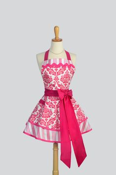 Ruffled Retro Apron - Cute Womens Apron in Raspberry Pink Damask with Stripes by Tanya Whelan Kitchen Apron